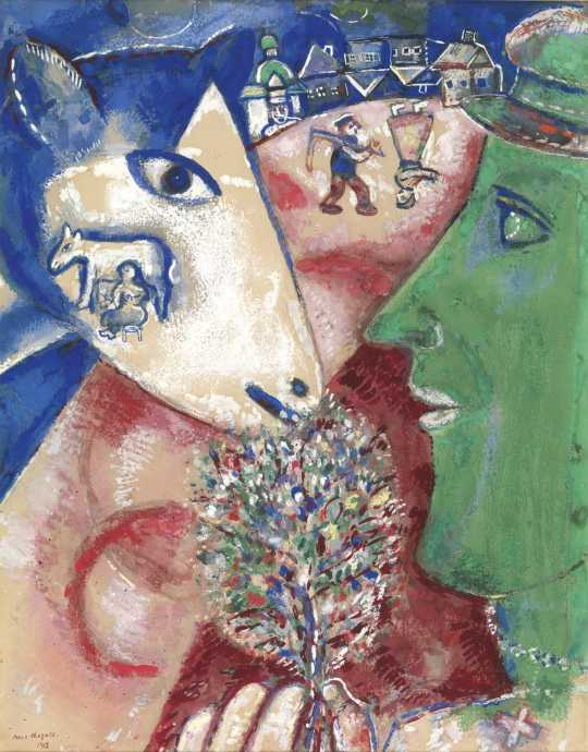 Marc Chagall, I and the Village, 1912, pencil, watercolour and gouache on paper. Royal Museums of Fine Arts of Belgium, Brussels, inv. 11108