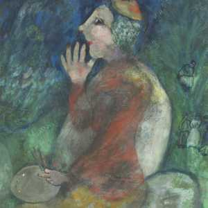Marc Chagall, I, Marc Chagall, 1928, watercolour, pastel and gouache on paper, on cardboard. Royal Museums of Fine Arts of Belgium, Brussels, inv. 11111